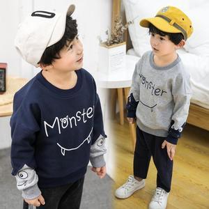 宅時尚2019春秋兒童衛衣韓版中小童純棉印花拼接打底