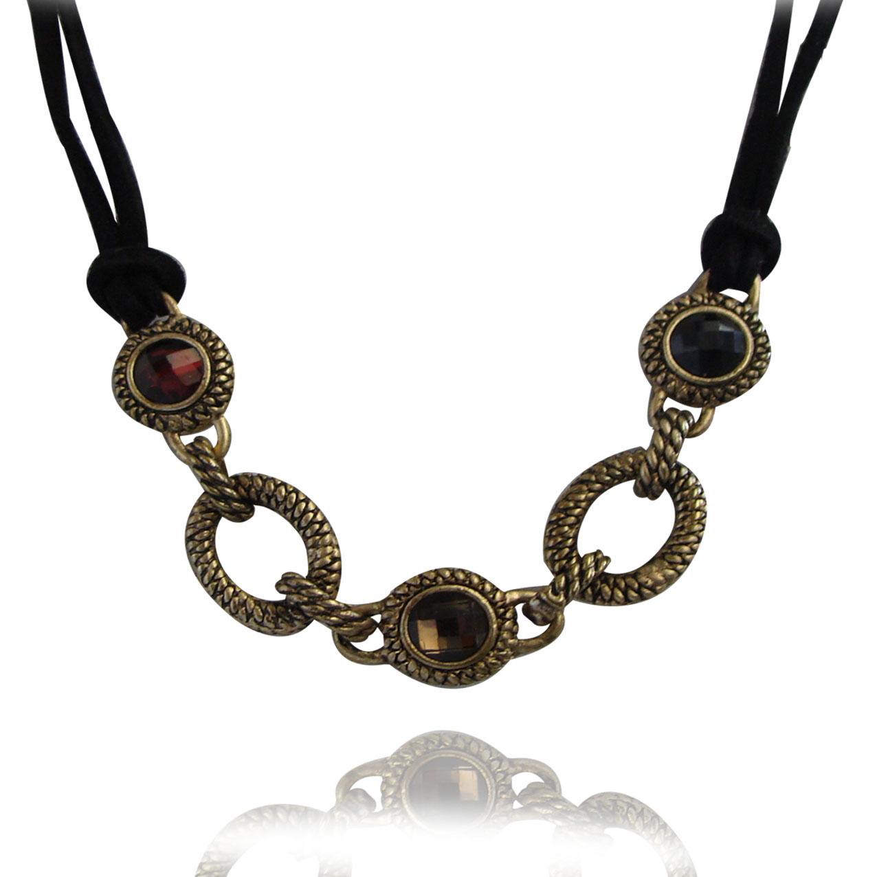 新款饰品热卖 复古宝石锁骨链 皮绳高端项链 c38 手链 分开拍