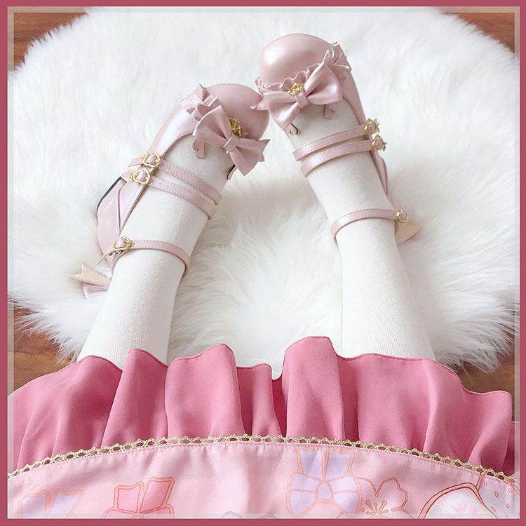 Sweet rabbit spot (elk) cute Lolita single shoes low heel flat round bow soft bottom womens middle low