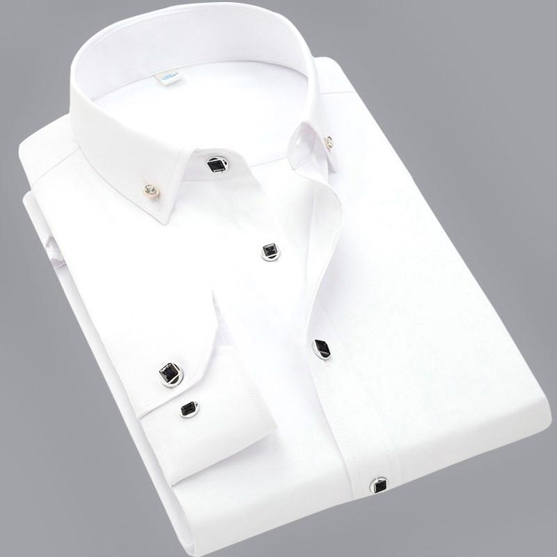 (用5元券)蓝曼龙男士长袖衬衫薄款韩版修身免烫抗皱青年白衬衣纯色商务休闲