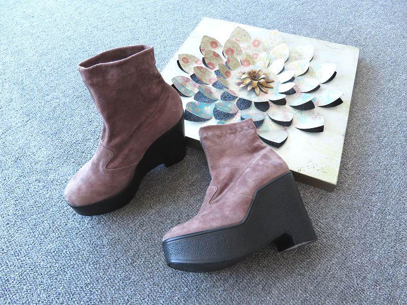 极推自留 高端潮牌 法国制ROBERT豆沙粉磨砂软羊皮舒适潮范厚底靴
