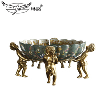 Linda Creative Ceramics Set copper angel fruit tray Fruit Basket Living room Xuan Guan Desktop coffee table decorative fruit Tray Storage Bowl