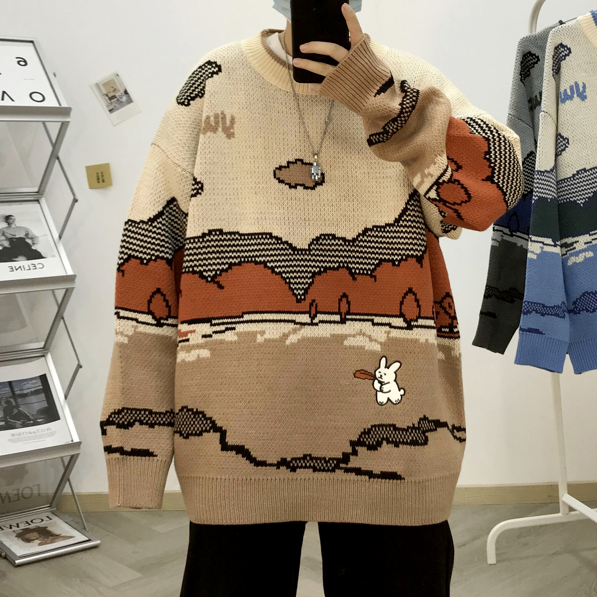 Autumn and winter new trend round neck couple cartoon embroidery color matching sweater mens and womens sweater