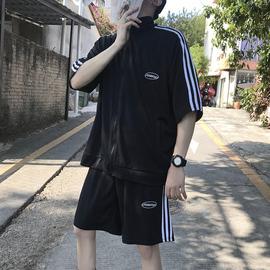夏季运动套装男休闲宽松潮牌时尚韩版潮流短袖卫衣外套短裤两件套