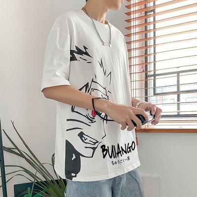 夏季日系短袖t恤男卡通印花动漫宽松bf学生潮流原宿港风5分袖衣服