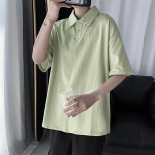 夏季纯色短袖Polo衫男ins潮牌港风日系宽松网红帅气翻领潮半袖T恤