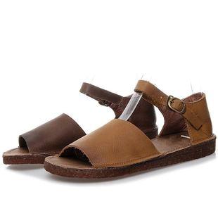 森女系新款手工真皮平底涼鞋女一字扣露趾包跟平跟舒適簡約牛皮鞋