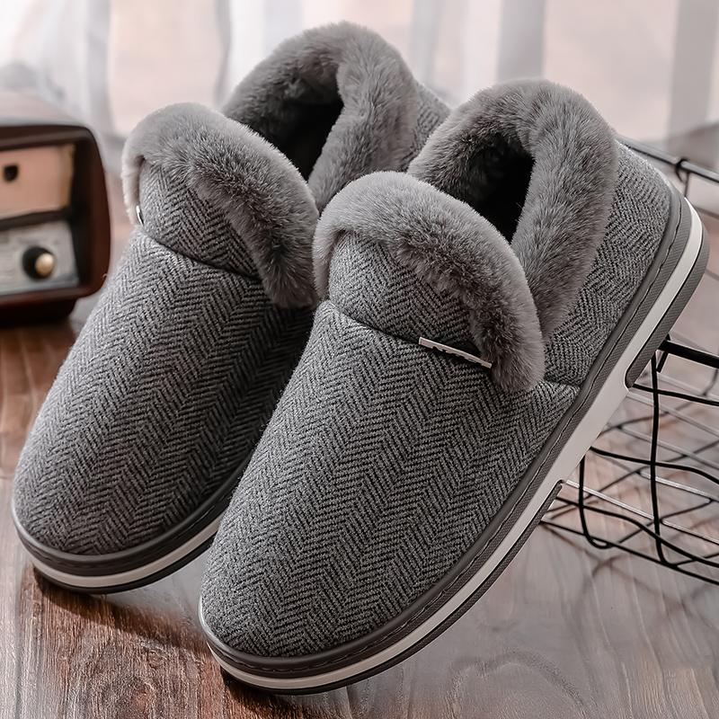 男鞋毛毛鞋棉鞋男加绒秋冬季情侣外穿家居家用包跟豆豆鞋男士保暖图片