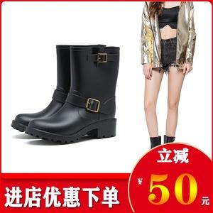 时尚雨靴女中筒机车靴防滑套鞋搭扣成人女雨鞋防水个性保暖女鞋子