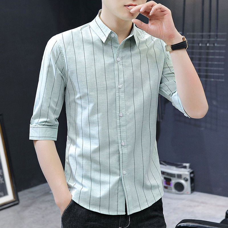 Summer mens 7-sleeve shirt trend half sleeve shirt stripe 5-sleeve slim fit middle sleeve casual iron free inch shirt