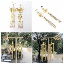 古装金色流苏耳环无耳洞夹式耳钩中式秀禾服耳饰新娘结婚礼服配饰