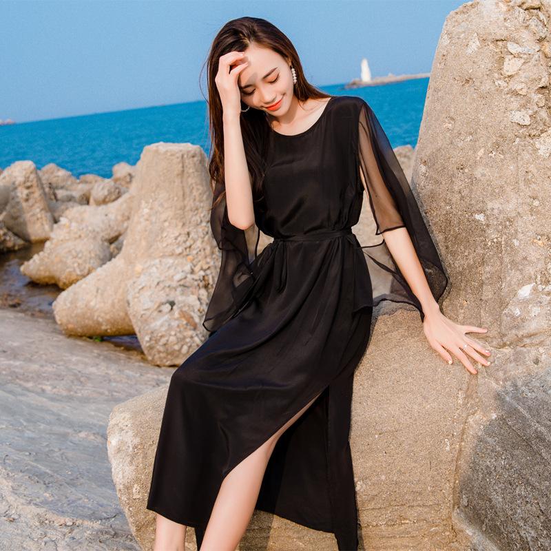 真丝双绉连衣裙夏重磅桑蚕丝大牌欧美时尚飘逸黑色沙滩裙海边度假10月24日最新优惠