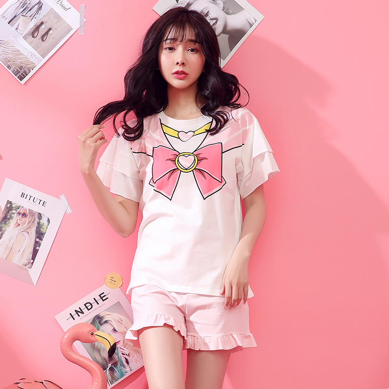 Pajamas women summer suit short sleeve two piece cotton summer Korean version fresh sweet lovely girl home clothes