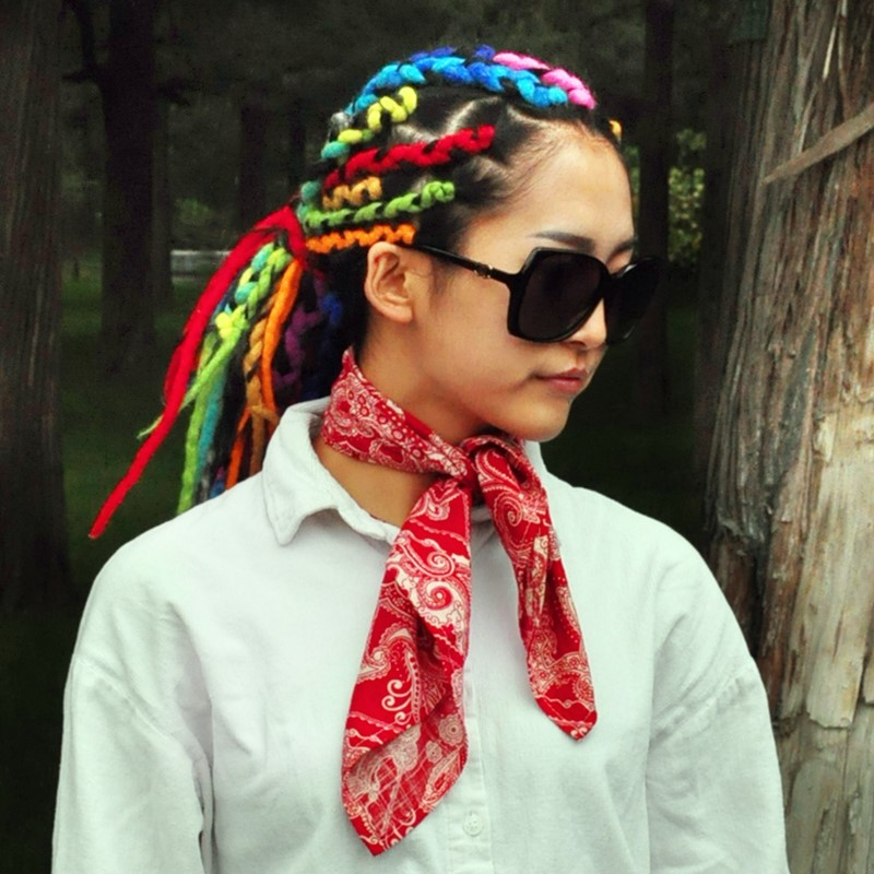 Small square scarf chaopai cashew flower hand tied men hip hop scarf hip hop hair band cotton women retro Headband
