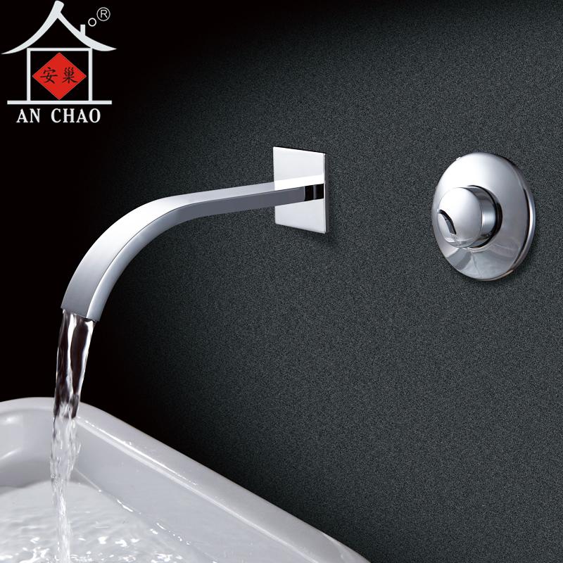 延时水龙头单冷手按式全铜入墙式按压台盆洗手池分体面盆龙头