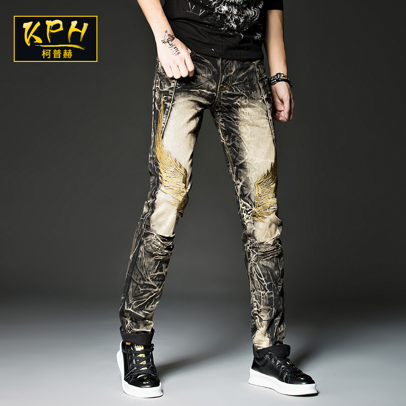 Wing embroidered jeans mens personality Korean slim pants trend retro perforated Niuzi pants fashion brand straight pants