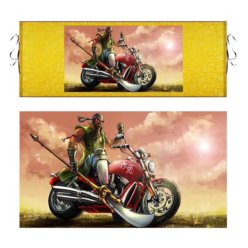 关公千里走单骑摩托车丝绸卷轴搞笑字画像装饰挂画仿古抖音关羽画