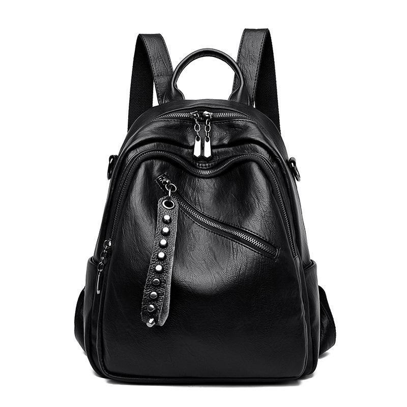 香港潮牌真皮双肩包女2020新款韩版时尚百搭女士背包软皮旅行书包