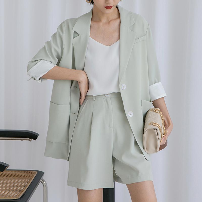 3TG 2021春夏新款韩版休闲七分袖chic网红薄款浅色雪纺西装外套女