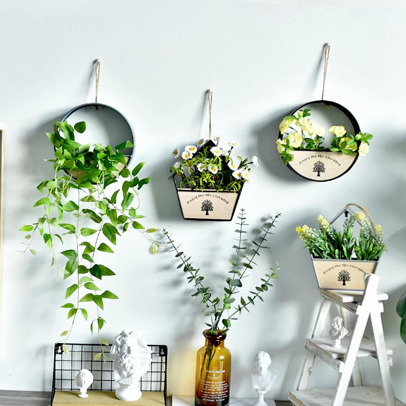 创意墙面上装饰品壁挂田园墙壁卧室房间花卉仿真植物花盆壁饰花篮