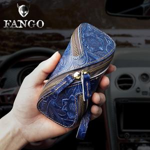 手工牛皮钥匙包头层牛皮创意汽车钥匙包创意复古拉链迷你零钱包潮