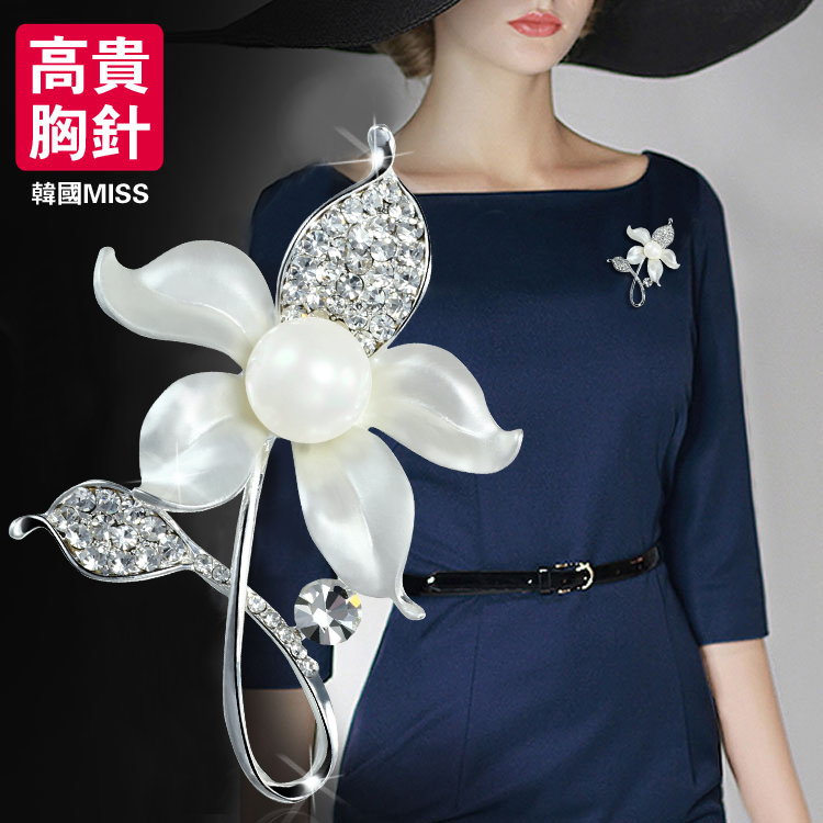 中国风新品如意胸针日韩国女仿珍珠胸花别针高档气质饰品生日礼物