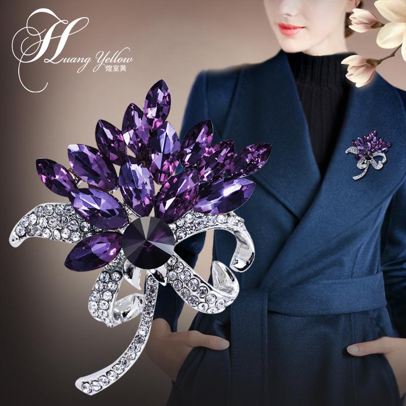 Literary simple temperament Brooch female Bauhinia artificial crystal brooch collar pin Korean host pin accessories