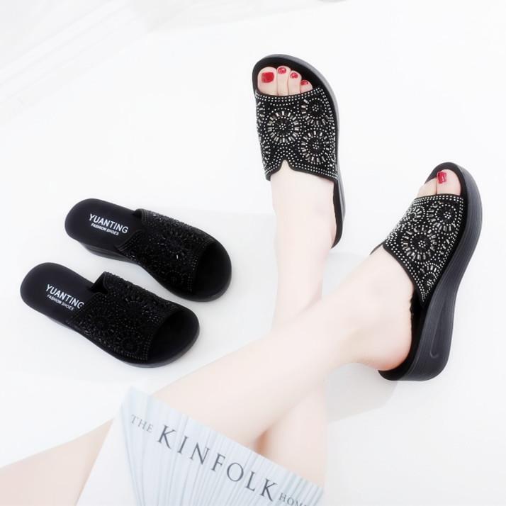 夏季镂空厚底外穿女凉鞋拖中跟气质中年妈妈黑色防滑软底女士拖鞋