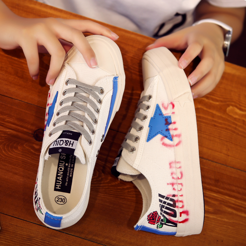 Global canvas shoes womens graffiti small white shoes spring 2020 new shoes flat sole shoes fashion shoes