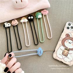 可爱卡通苹果手机挂绳华为创意手腕绳硅胶挂件情侣挂链短款绳可爱