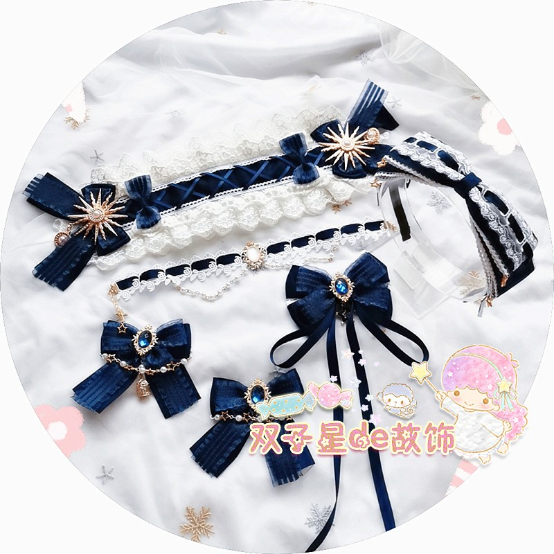 [original] hand made Lolita cyan hair ornament Lolita hair band navy blue small things with Necklace Set