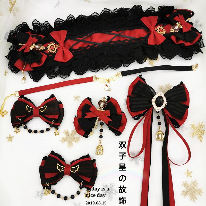 【原创】洛丽塔哥特暗黑系列黑酒红撞色Lolita发带发饰边夹套装
