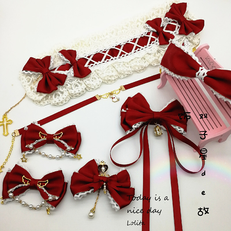 [original] wine red Lolita suit Lolita hair with soft girl side clip secondary ribbon