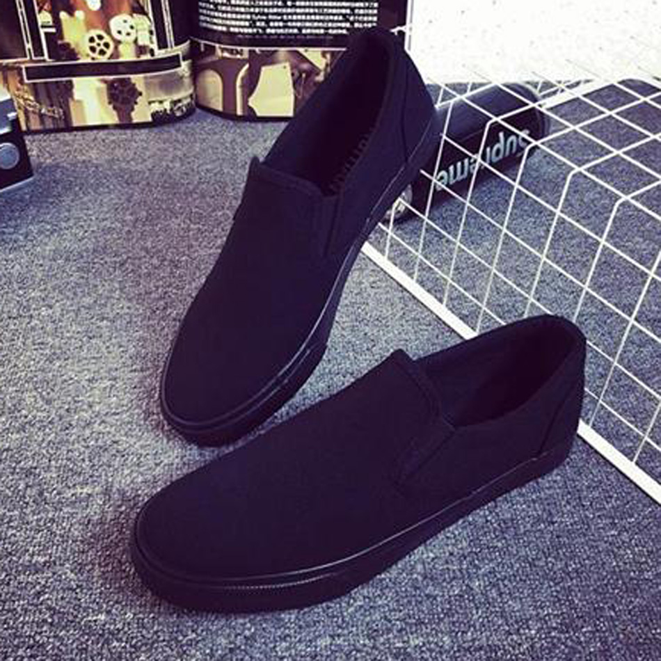 全黑色老北京一脚蹬懒人透气帆布鞋