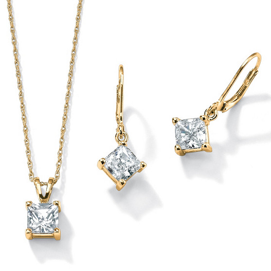 Cubic zirconia / 925 silver plated 14K Gold Pendant / Earrings / Necklace 3-piece set 56206