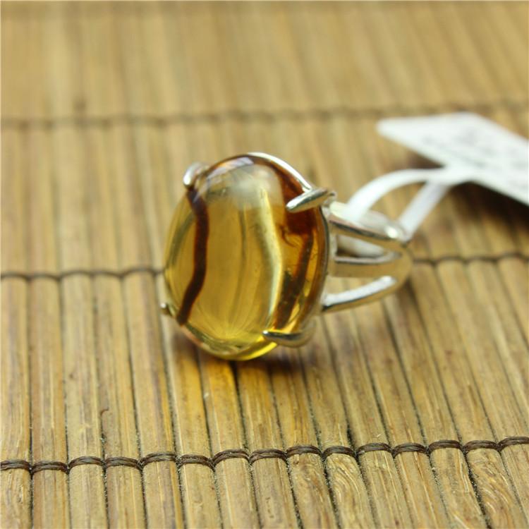 琥珀戒指 金珀体 植物戒 缅甸琥珀 保真天然无优化特色戒指 J0115