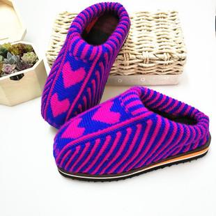 一双包邮成品毛线棉鞋保暖手工拖鞋