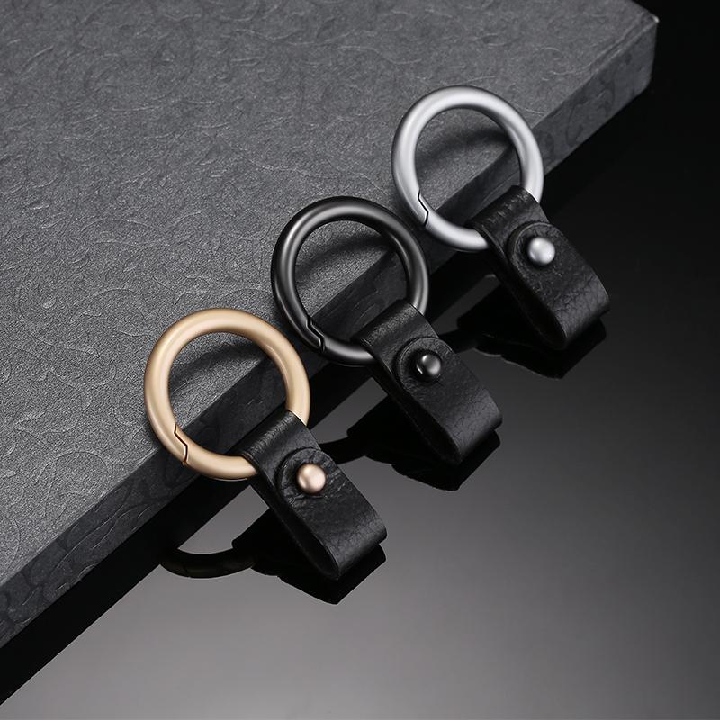 汽车钥匙扣男创意个性挂件女简约腰挂式金属钥匙圈环锁链高档皮扣