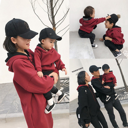 过年亲子装一家三口2020新款潮秋冬装母子母女装洋气加绒卫衣外套
