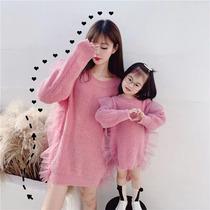 特别的亲子装2020秋冬装新款潮网红母女装大码洋气毛衣连衣裙外套