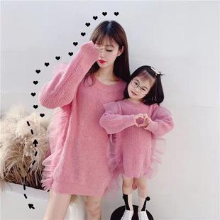 特別的親子裝2020秋冬裝新款潮網紅母女裝大碼洋氣毛衣連衣裙外套