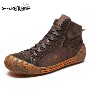 街舞滑板鞋 板鞋 酷奇維斯街頭男鞋 洗水做舊牛仔鞋 個性 韓版 高幫鞋