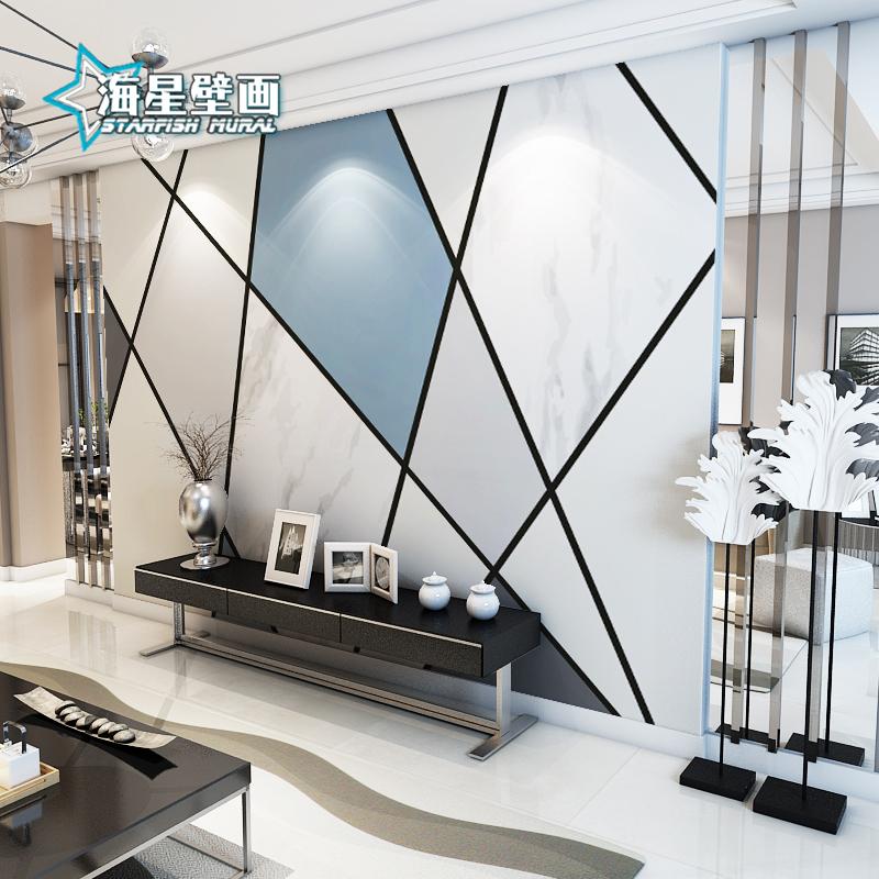 北欧电视背景墙壁画简约现代卧室客厅8d几何墙纸装饰壁纸影视墙布