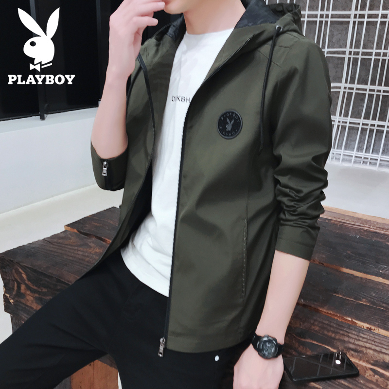Spring and autumn 2020 NEW PLAYBOY hooded casual jacket mens fashion casual slim coat