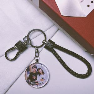 双面照片钥匙扣来图创意定制diy送男女朋友个性高档礼品挂件