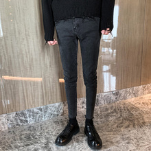 Jeans men's 2019 autumn winter new Korean Trend Retro Black Grey all-around fit small feet cropped pants handsome