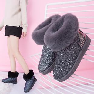 时尚 毛毛短靴子欧美甜美加绒保暖女棉鞋 亮片雪地靴女2019年冬新款
