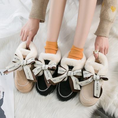 雪地靴女鞋2019新款冬季加厚保暖休闲棉鞋加绒平底蝴蝶结女式靴子