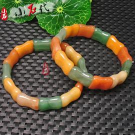 天然橙绿东陵玉手链手排散珠单圈水晶材料手镯手串半成品饰品配件