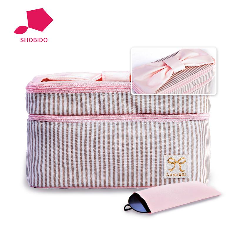 shobi妆美堂日本进口防水大容量简约多功能双层大化妆包化妆箱